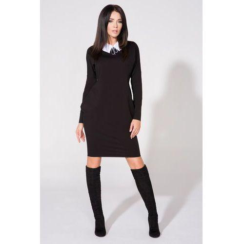 Czarna Sukienka z Dołączonym Kołnierzykiem, w 6 rozmiarach
