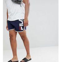 Fila PLUS Black Line Runner Swim Shorts With Logo In Navy - Navy