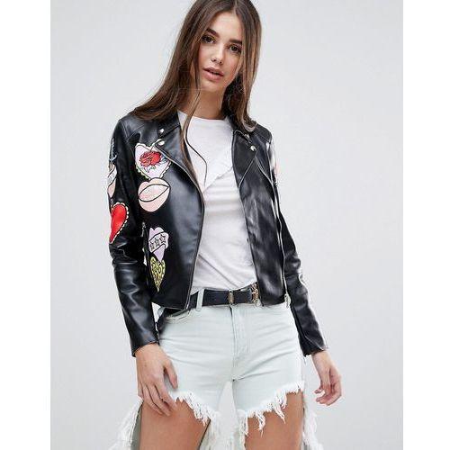 badge faux leather biker jacket - black, Glamorous, 34-38