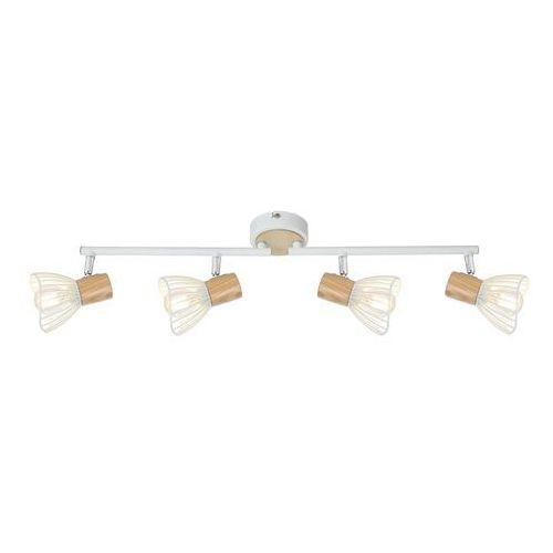 Candellux chile 94-61645 lampa punktowa 4xmax 25w e14 biały + drewno (5906714861645)