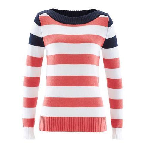 Sweter z dekoltem w łódkę ciemnoniebiesko-koralowo-biały w paski, Bonprix, 32-50