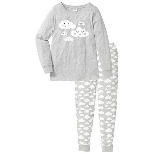 Piżama, bawełna organiczna bonprix jasnoszary melanż - biały z nadrukiem, bawełna