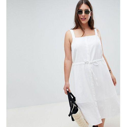 ASOS DESIGN Curve button through casual midi sundress - White, 1 rozmiar