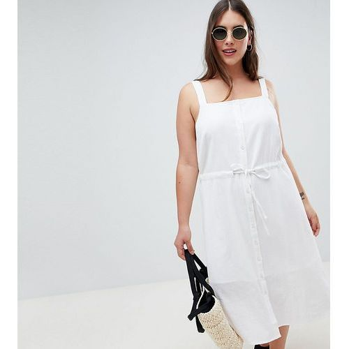 ASOS DESIGN Curve button through casual midi sundress - White, kolor biały
