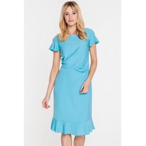 Gapa fashion Błękitna sukienka z ozdobnymi falbanami -