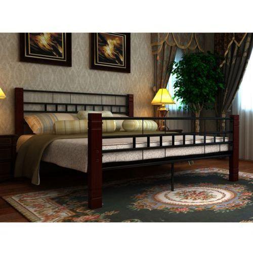 Vidaxl  czarne, metalowe łóżko, 140 x 200 cm + materac z pianki anatomicznej. (8718475892090)