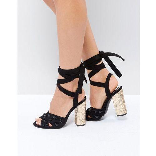 Truffle Collection Glitz Tie Up Block Heel Sandal - Black, kolor czarny