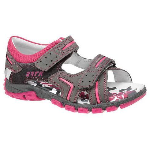 Sandałki na rzepy 66158 - multikolor ||popielaty ||różowy ||szary marki Bartek