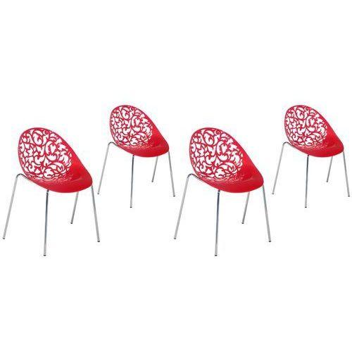 Zestaw do jadalni 4 krzesła czerwone MUMFORD