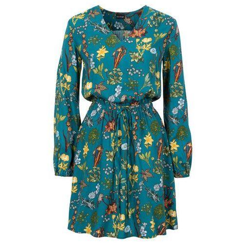 Sukienka z nadrukiem niebieskozielony z nadrukiem, Bonprix, 46-50
