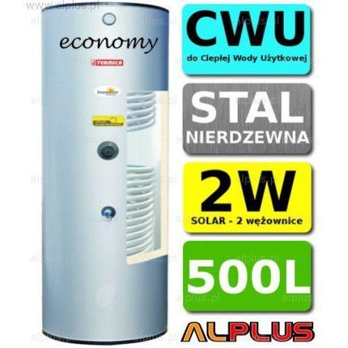 TERMICA 500L 2W Economy Nierdzewka z 2 Wężownicami, Zbiornik Podgrzewacz CWU Wymiennik Bojler Nierdzewna Stal, Wysyłka gratis, W2W500e