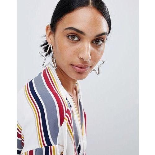 LoveRocks London Diamante Star Statement Earrings - Silver