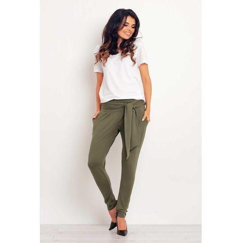 Wygodne oliwkowe spodnie joggersy z wiązanym paskiem, Infinite you, 36-42