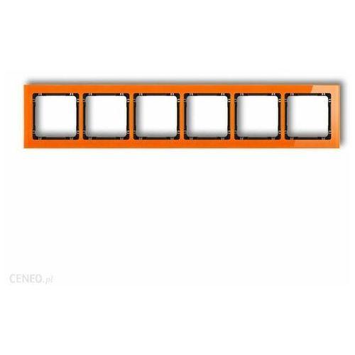 Deco ramka uniwersalna sześciokrotna - efekt szkła (ramka: pomarańczowa spód: czarny) pomarańczowy 13-12-drs-6 marki Karlik elektrotechnik sp. z o.o.