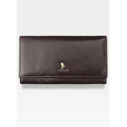 Portfel damski skórzany  klasyczny ciemny braz z biglem 1704p - ciemny brąz marki Puccini