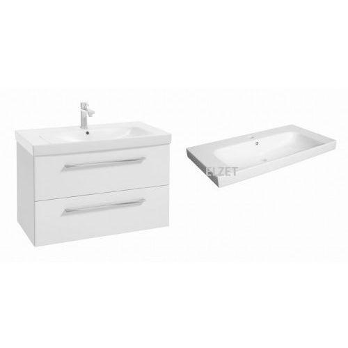 DEFRA szafka Trento D85 biały połysk + umywalka Roma 85 123-D-08505+3064, kolor biały