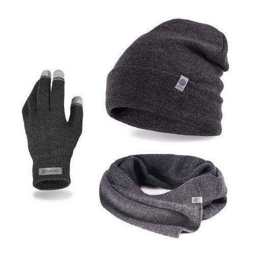 Komplet męski PaMaMi - czapka, szalik, rękawiczki - Ciemnoszara mulina