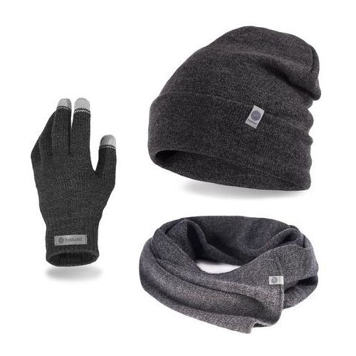 Pamami Komplet męski - czapka, szalik, rękawiczki - ciemnoszara mulina (5902934068642)