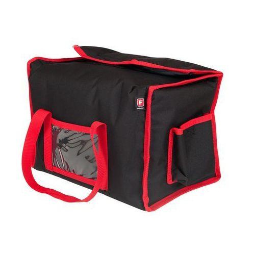 Furmis Torba wykonana z kodury na 6 opakowań o wymiarach 200x250 mm, czarna z czerwoną lamówką   , lunchbox-6