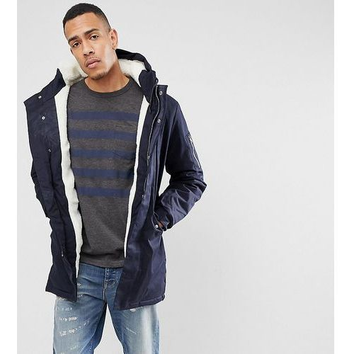 tall borg lined parka with hood - navy, Bellfield