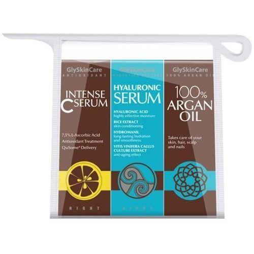 zestaw - intense c serum 30ml, olejek arganowy 30ml, hyaluronic serum 30ml marki Glyskincare