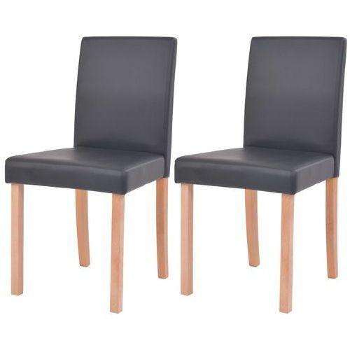 krzesła, 2 szt., sztuczna skóra, drewno bukowe, czarne marki Vidaxl