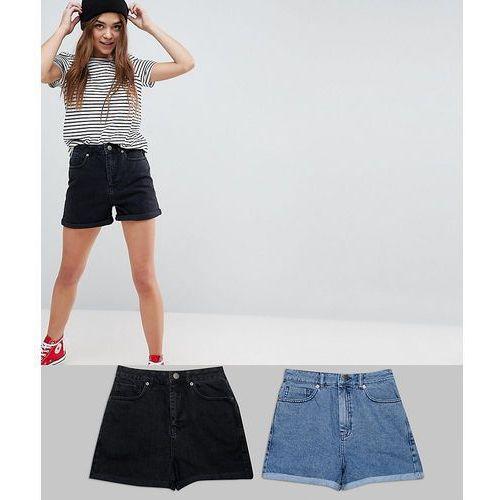 ASOS DESIGN denim mom short in washed black and mid blue 2 pack - Multi