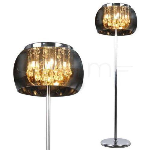 Stojąca LAMPA podłogowa ROMEO 310606 Polux szklana OPRAWA okrągła do salonu krople sople przydymiona chrom (5901508310606)