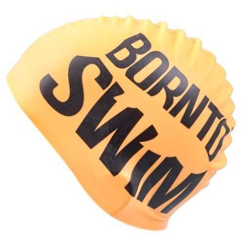 odblaskowy czepek orange – black logo marki Born to swim