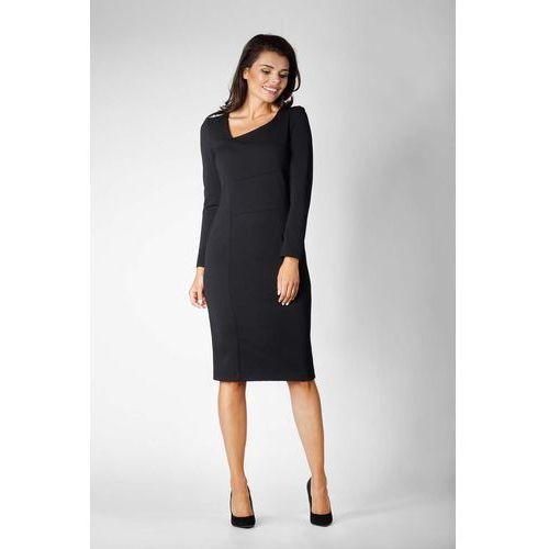 9aa8a0b16d Czarna wizytowa dopasowana sukienka z asymetrycznym dekoltem