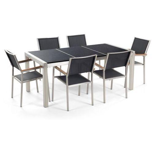 Beliani Zestaw ogrodowy stół granitowy dzielony blat czarny i 6 krzeseł czarnych grosseto