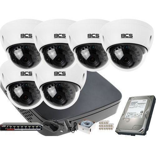 6x BCS-DMIP3200IR-E-IV R zestaw monitoringu BCS-NVR08015ME-II Dysk 1TB Akcesoria, ZM11564