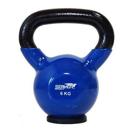 Stayer-sport Kettlebell żeliwno-winylowy z gumową podstawą stayer sport 6 kg - 6 kg