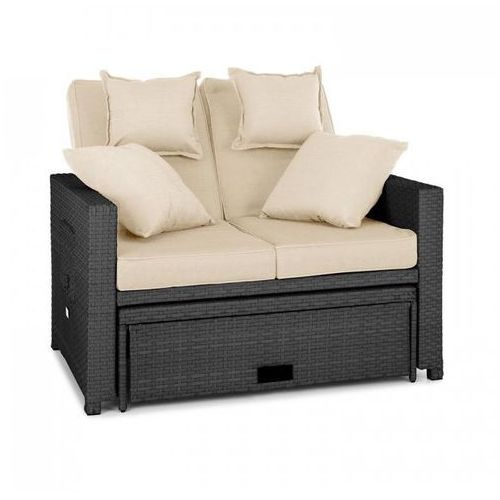 Blumfeldt Komfortzone sofa wypoczynkowa 2-osobowa technorattan składane stoliki szara (4260457488905)