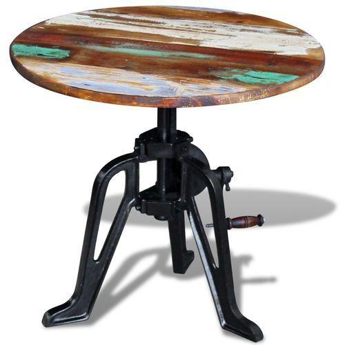 stolik boczny okrągły z drewna odzyskanego żelazną ramą 60x(42-63) cm marki Vidaxl