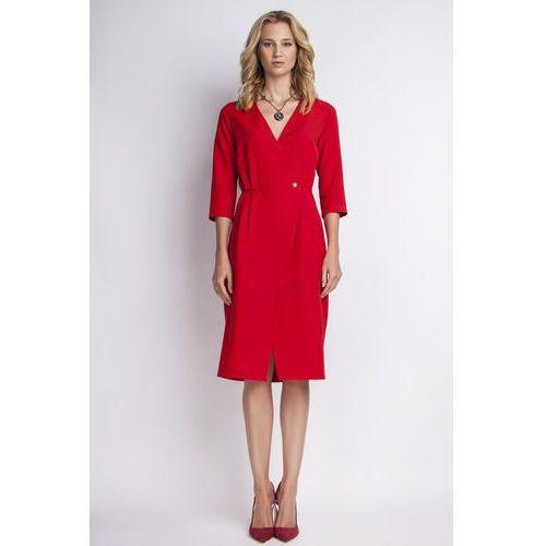 Czerwona Elegancka Sukienka Midi z Kopertowym Dekoltem, kolor czerwony