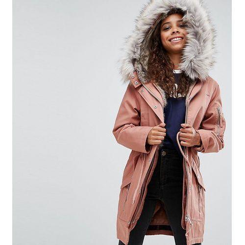 Asos petite  parka with detachable faux fur liner - pink