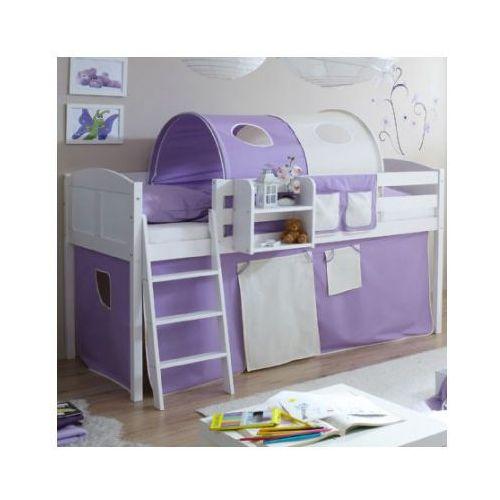 Ticaa łóżko z drabinką eric, białe drewno sosnowe country kolor beżowo-fioletowy marki Ticaa kindermöbel