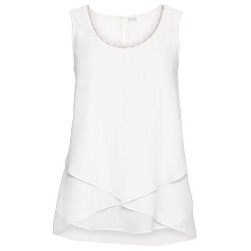 Bluzka bez rękawów bonprix biel wełny, w 7 rozmiarach