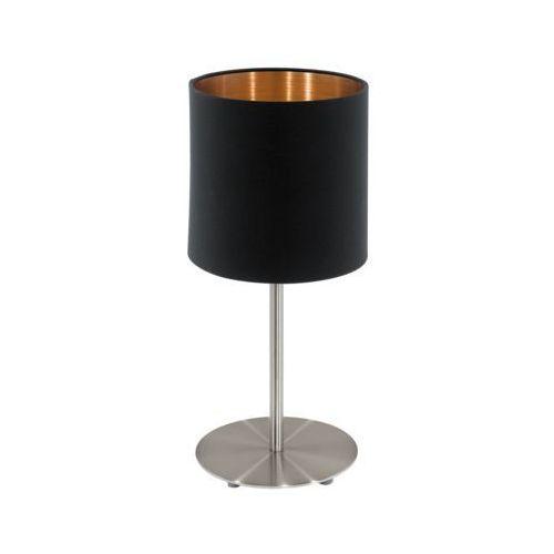 Eglo Stojąca lampka stołowa pasteri 94917 abażurowa lampka biurkowa okrągła czarna (9002759949174)