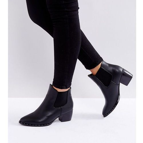 Truffle Collection Wide Fit Mid Heel Chelsea Boot - Black