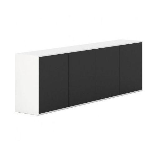 Szafka z drzwiami długa white layers, czarne drzwi marki Plan