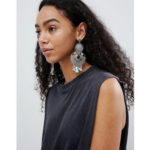 ASOS DESIGN Statement Enamel And Stone Disc Tassel Drop Earrings - Silver