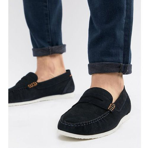 Silver street wide fit loafers in navy suede - blue