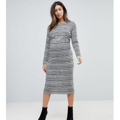 twist back bodycon dress in stripe - grey marki Asos maternity