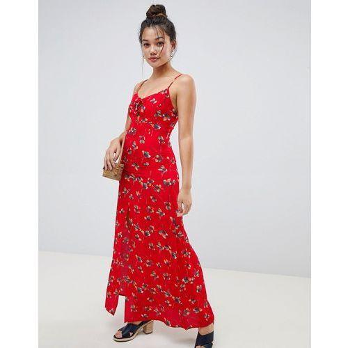 Brave Soul Poppy Maxi Dress with Front Split - Red, kolor czerwony