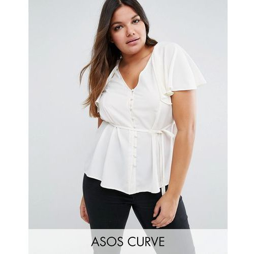 ASOS CURVE Tea Blouse With Button Front And Cape Back - Cream, kup u jednego z partnerów