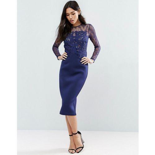PREMIUM Scuba Long Sleeve Lace Pencil Dress - Navy, suknia, sukienka ASOS
