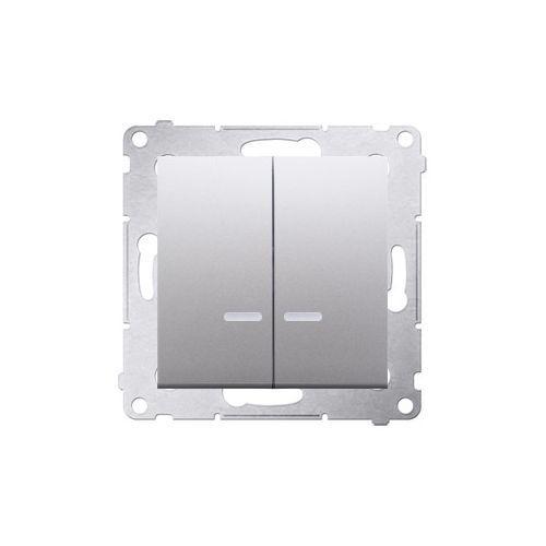 SIMON 54 Łącznik świecznikowy z podświetleniem LED i do wersji IP44 (moduł) 10AX, 250V~, szybkozłącza; srebrny mat *Posiada wkładkę DU1W DW5BL.01/43 WMDL-551xxx-043