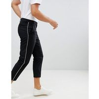 Boohooman tailored trousers with piping in black - black